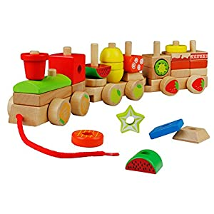 yoptote Wooden Geometric Blocks Train Building Stacking Set Toy Assembly Pull Along Puzzle for Kids Aged 3Y+