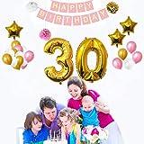 Geburtstag Happy Birthday Party Luftballons u. Dekoration 32-tlg. Set - Folienballons Zum 30. Geburtstag - Gold, Weiß u. Rosa Dekorative Latexballons - Für Erwachsene (Age 30)