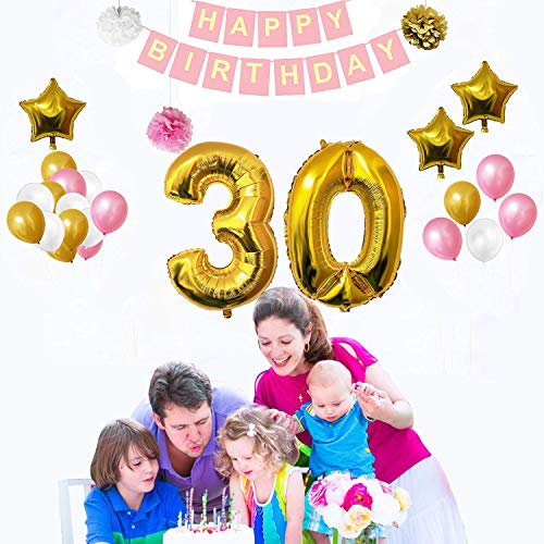 30 Joyeux anniversaire decoration set (32 Pcs ) - Decoration anniversaire Fête Bannière Ensemble avec des Ballons, Pom Pom & Déjouer Latex des Ballons Or, Blanc & Rose , 3 paille (Gonflage)