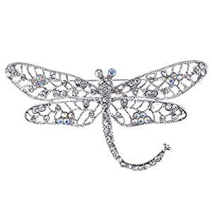 Alilang Silber Ton Iridescent Klar Farbige Strass Insekt Libelle Brosche
