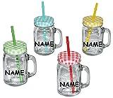 Unbekannt 4 STK _ Henkelbecher - incl. Namen - Gläser mit Strohhalm & Deckel - Bunte Farben - Trinkbecher als  Milchglas  Sommerglas - Flasche z.B. Limonade Erfrischu..