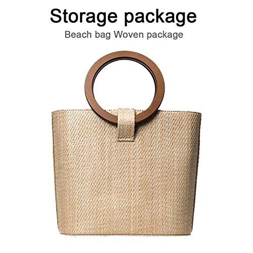 iBaste Nachgeahmte Stroh gesponnene Taschen Strandtaschen Retro Speicher Handtasche (1-speicher-korb)