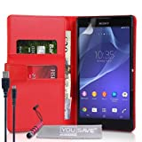 Yousave Accessories Sony Xperia T2 Ultra Tasche Rot PU