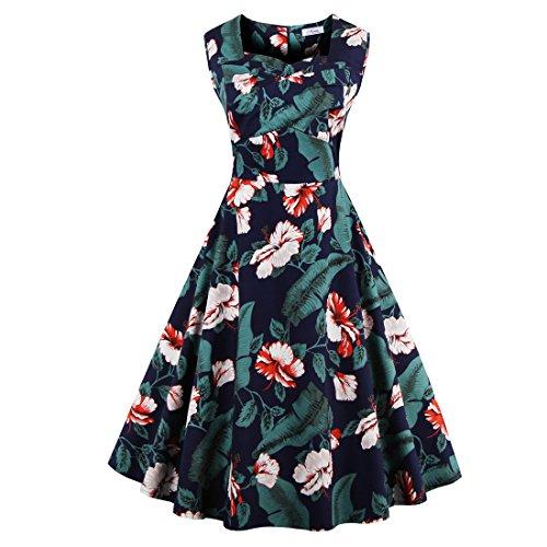 Babyonline Damen Vintage Kleider Rockabilly Kleider Abendkleider Cocktaikleider Knielang S-4XL