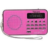Timorn Radio Mini portátil reproductor de música Soporta la función de la tarjeta de TF / USB / SD / MP3 / FM radio (L938) (rosado)