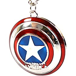 Marvel Capitán América Escudo Colgante Estrella - The Avengers Cosplay Super Hero Necklace