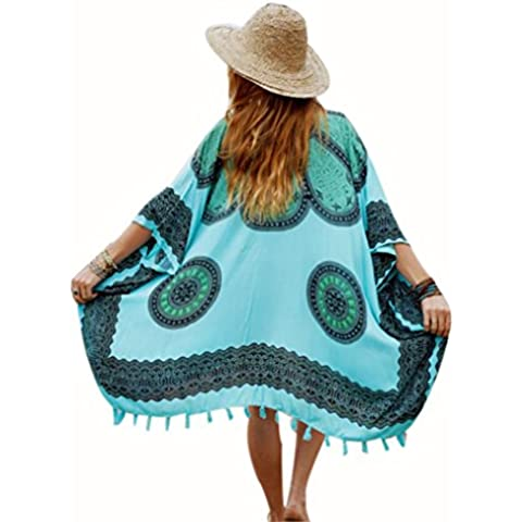 Clode® Beach Cover Up Bikini Boho Summer Dress Costume da Bagno Costume da Bagno Kimono Tunica Telo Mare (Blu)