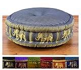 Zafukissen Seide mit Kapokfüllung, Meditationskissen bzw. Yogakissen, rundes Sitzkissen / Bodenkissen (grau / Elefanten)