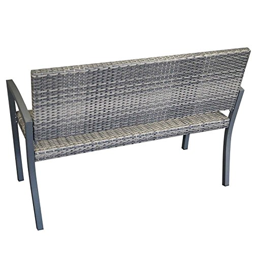 Gartenbank BARCELONA 2-Sitzer, Polyrattan Geflecht, grau-bicolor - 2