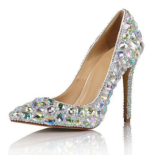 HGDR Hochzeit Braut Stöckelschuhe Frauen Damen Farbige Diamant Spitz Party Kleid Pumps Abend Party Prom Stiletto Schuhe,Silver-EU:40/UK:7