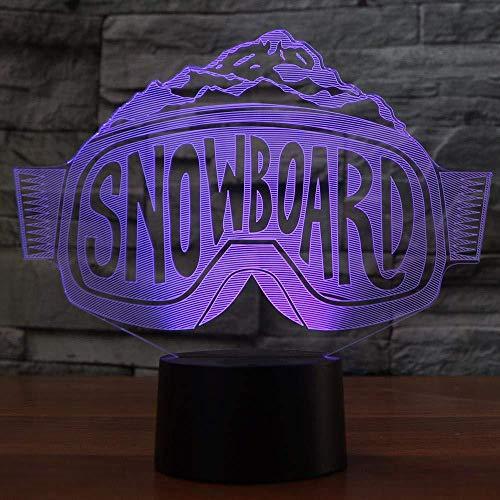 3D Führte Die Skibrille, Die Nightlights-Bunte Steigung-Tischlampe-Schlafzimmer-Nachttisch-Dekor-Snowboard-Schlaf-Beleuchtungs-Weihnachtsgeschenke Modelliertled 3D Lampetreppe