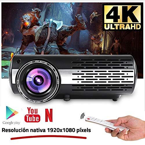 """Seelumen 6500 Lúmenes Proyector Full HD 1080P (1920 x 1080) Proyector Cine en Casa con Corrección Digital, Android 6.0, AC3, Compatible con Netflix, Kodi, Playstore, Bluetooth, WiFi 5G, 200\"""" (Negro)"""