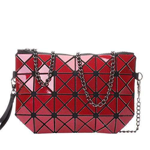 Frauen Hologram Geometric Cross Body-Umhängetasche Handtasche Cosmetic Bag Red