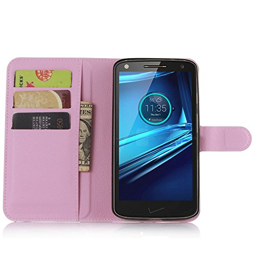 Tasche für Motorola MOTO Droid Turbo 2 Hülle, Ycloud PU Ledertasche Flip Cover Wallet Case Handyhülle mit Stand Function Credit Card Slots Bookstyle Purse Design rosa