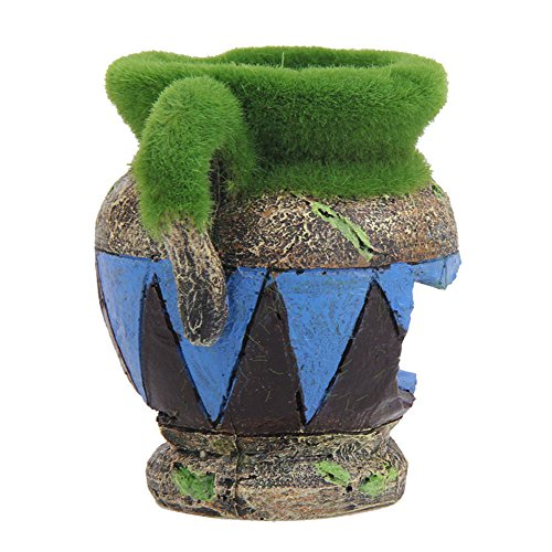 ion Kunstharz Moos Vase Aquarium Landschaft Polyresin Dekoration Fish Tank Decor Ornaments für Fische Garnelen Nest gratis Shuttle Sucher Hippie Shelter House Unterwasser Verstecken Cave (Hello Kitty Halloween-hintergründe)