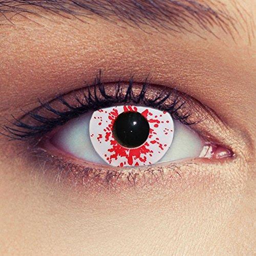 Blutig weiße farbige Kontaktlinsen für Halloween Karneval Zombie Farblinsen in weiß Design: Blood Splash