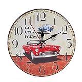 Zarupeng Shabby Retro Wand-Uhr, Wohnzimmer Uhr ohne Tickgeräusche, Antike Holz Lautlos Wanduhr für Home Kitchen Office (One Size, D)