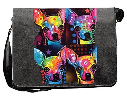 Pop Art Canvas ::: Chihuahuas ::: peppige Umhängtasche mit Art Style Hunde Motiv