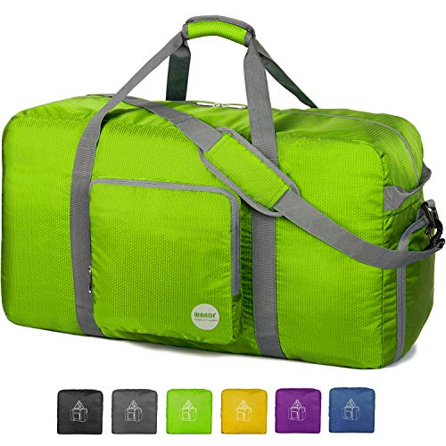 WANDF Foldable Travel Bag with Shoe Compartment Lightweight Sports Bag for Travel Gym Sport Holiday Waterproof Nylon (Verde, 80L)