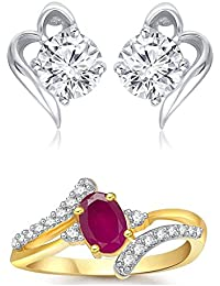 Meenaz Jewellery Combo Traditional Gold Plated Ruby Red Rings For Girls Girlfriend Women Necklace Ring Jewellery...