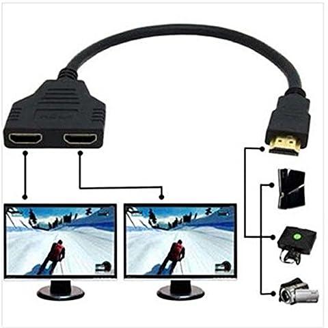 Sys Prise HDMI 1 mâle vers Double HDMI 2femelle Y adaptateur de câble de répartiteur LCD LED HD TV