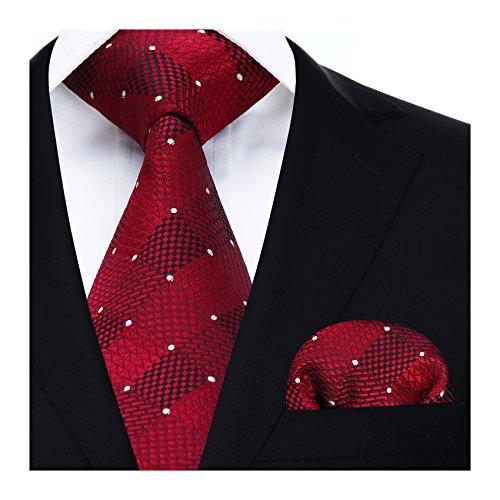 Hisdern Herren Krawatte Taschentuch Check Krawatte & Einstecktuch Set Rot