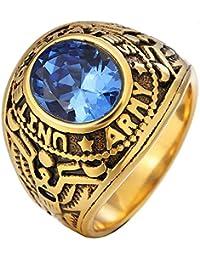 e79c0c6954f Wibbosad Bague Militaire en Acier Inoxydable avec Bague de promesse de  Mariage de Diamant Bleu pour