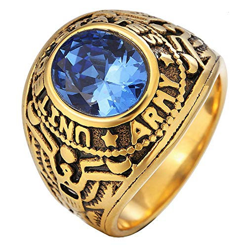 g Herren vergoldet USA Navy Oval Blue Diamond Ring,Größe65 (20.7) ()