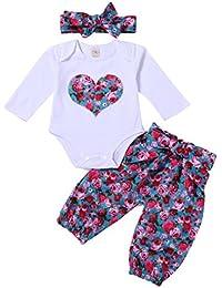 �� Ropa de Bebe 2018 Ofertas, �� Zolimx Recién Nacido Bebé Niña Amor Mameluco de Impresión Floral Romper Tapas + Pantalones Largos + Linda Diadema 3Pcs Conjuntos Trajes