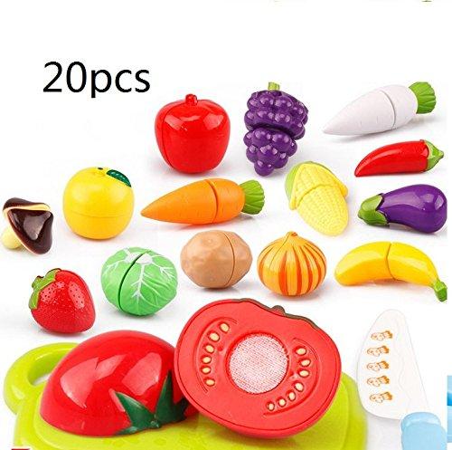 Atommy 20 pcs niños Juguetes de cocina frutas y verduras honestamente honestamente juguetes de cocina felices los niños jugar a las casitas traje de la música