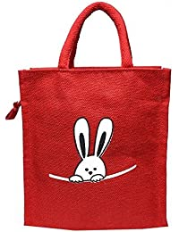 Hyena Women's Reusable Printed Jute Lunch Bag (Red)