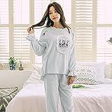 DHG Inverno Ricamo Di Alta Qualità Ispessito Visone Cashmere Casa Giappone e Corea Del Sud Dipartimento Di Pigiama Fidanzata,Blu,XL