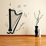 Klassische-Harfe-Notizen-Musiknoten-Instrumente-Wandaufkleber-Musik-Kunstabziehbilder-verfgbar-in-5-Gren-und-25-Farben-X-Gro-Moos-Grn