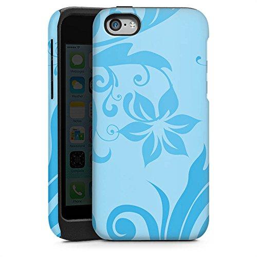 Apple iPhone 6 Housse Étui Silicone Coque Protection Motif floral Vrilles Bleu Cas Tough brillant