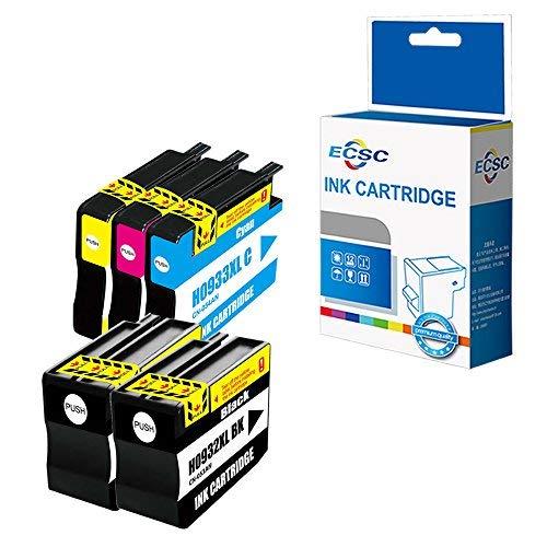 ECSC Compatible Tinta Cartucho Reemplazo Para HP Officejet 6100 6600 6700 7110 7610 7612 932XL 933XL (Negro/Cyan/Magenta/Amarillo, 5-Pack)