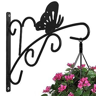 Amagabeli Indoor Outdoor Garden Wrought Iron Black Hanging Plant Bracket Planter Hooks Hangers for Wind Chimes Bird Feeder Pole Lantern Hangers Hanging Planters Wall Brackets Plant Stand,11