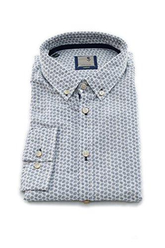 Seidensticker Herren Langarm Hemd Schwarze Rose Slim Fit Washed Button-Down-Kragen blau / weiß strukturiert 442262.16 Blau