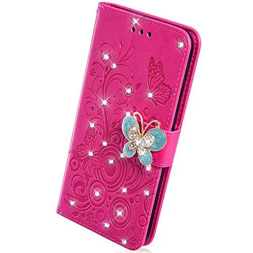 Herbests Handyhülle für iPhone XS Max Hülle Leder Tasche Glitzer Strass Schöne Schmetterling Blumen Muster Bookstyle Flipcase Lederhülle Brieftasche Magnetverschluss Handytasche,Hot Pink