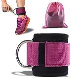 ASMOTIM Premium Fußschlaufen - Gepolstert - Perfekt für Beintraining am Kabelzug - Gratis Tragebeutel - Flexibel Einstellbar für jedes Workout und Dein Po Training - 2 Jahre Gewährleistung (Rosa