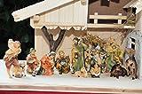 PREMIUM Krippenfiguren KOO1-11cm-MDS mit Deko, 21 - teiliges SET, große hochwertige Ausführung und feine Mimik, Figuren max. 11-12 cm Komplettset mit Schäfer, Hirte mit Schaf / Schafe und Ziegen, Ochs und Esel, NEU - handbemalt - für große Holz Weihnachtskrippe