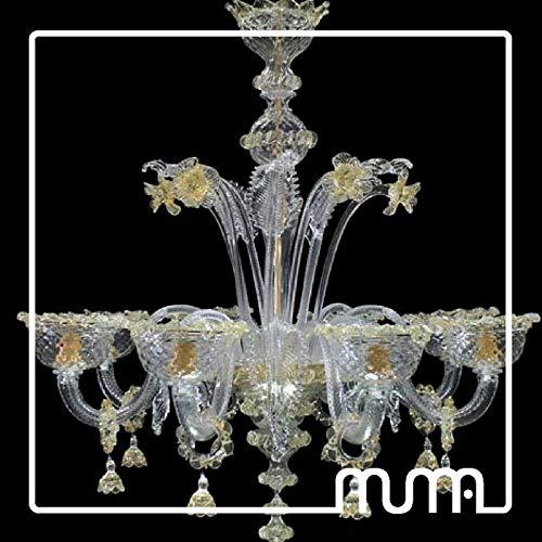 Kronleuchter aus Murano-Glas 8-flammig, Kristall und Bernstein, Big Murano Kronleuchter 8Lights -