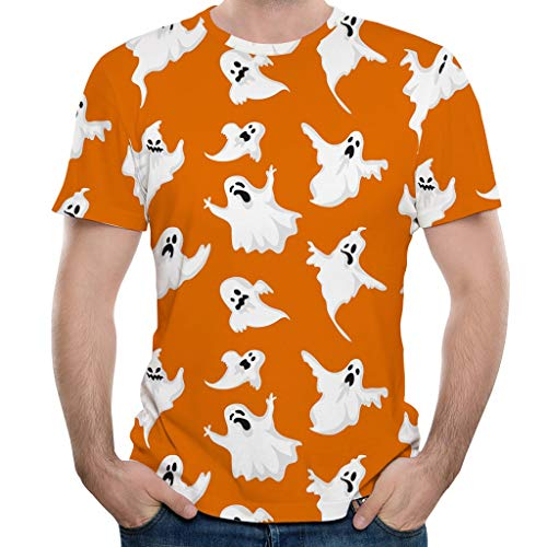 LILIHOT Halloween Herren Blusen Kürbis 3D Print O-Neck Kurzarm T Shirt Tops Drucken Solide Kurzarmshirt Pullover Übergröße Bluse Sommerbluse Männer Tops Blusen -