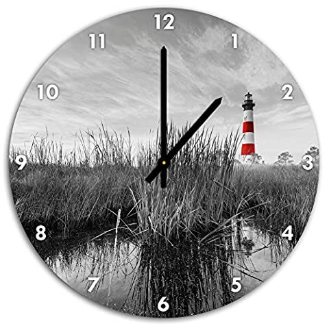 Bodie Iceland Lighthouse in North Carolina black / white, wall clock diameter 48cm with black pointed the hands and face, decorative items, Designuhr, aluminum composite very nice for living room,