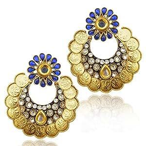 Pearl Ram Leela kundan Goddess Lakshmi coin India ADIVA copper earring ab150b