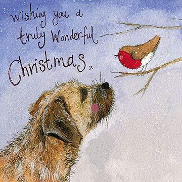 Alex Clark Weihnachtskarten mit Motiv Border Terrier und Rotkehlchen, 5 Stück -
