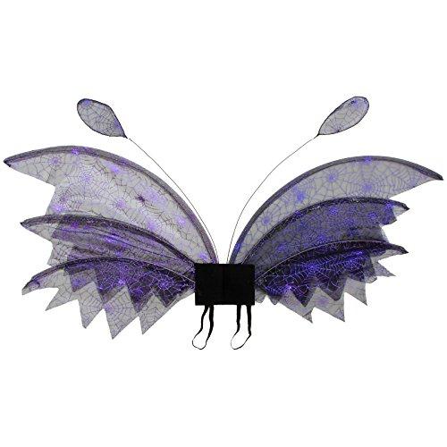 Flügel Elfe Spinnennetz lila glänzend 80x30cm Elfenflügel Spinnen Kostüm