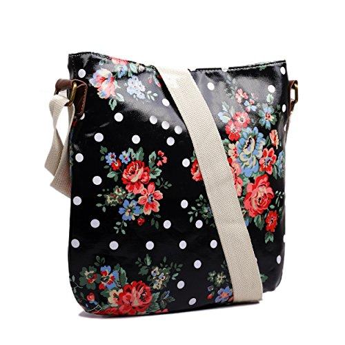Motif chien Papillon Polka Dot Messenger Sac de selle en toile cirée Motif Floral Noir