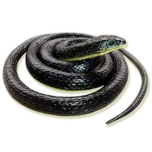 Skryo Realistische gefälschte Gummispielzeugschlange Schwarze gefälschte Schlangen 49 Zoll Langer Aprilscherz