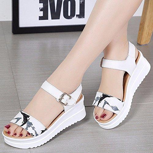 N ° 55 Chaussures Été Sauvage En Cuir Épais Fond Avec Anti-skid Étudiants Pente Avec Femmes Enceintes Sandales Chaussures Blanc Brun