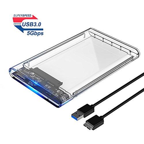 ELUTENG 2.5 Zoll HDD/SSD Festplatte Gehäuse Extern USB 3.0 Clear Festplatte Intern 9.5mm/7mm Externe Hard Drive Enclosure Transparent SATA USB3.0 2,5 Festplattengehäuse 2139U3